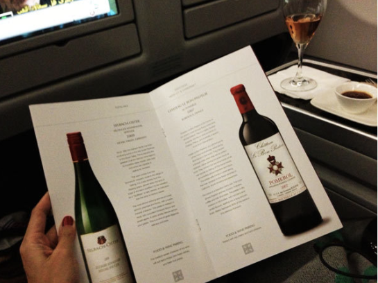 An impressive Wine and Champagne selections at Qatar's Business Class.  I had a Bollinger and a glass of Chateau Le Bon Pasteur 07 and a Castel Giocondo Brunello de Montalcino 03, guess all pret for the exciting tour here!