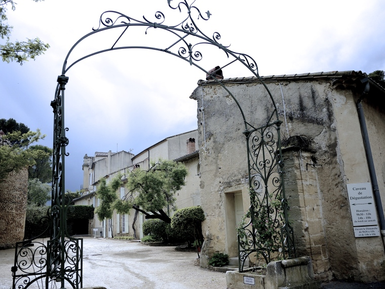 Entering the historic building of Chateau Le Nerthe in June 2013